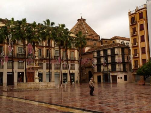 Plaza de Constitución bei meiner Ankunft im Regen