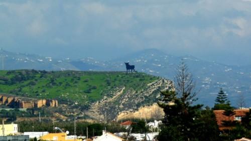 Der Stier von Almayate (Auf dem Hügel wachsen Bäume, keine Büsche)