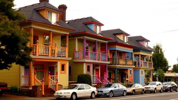 Bunte Häuser in Portland